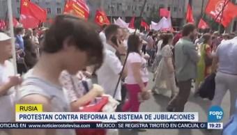 Protestan Contra Reforma Sistema Jubilaciones Rusia Moscú