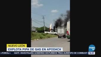 Registra Incendio Pipa Fuga Gas Apodaca, Nl