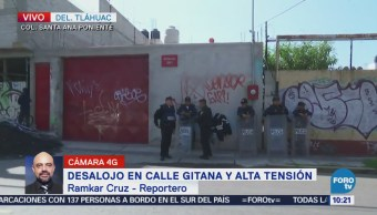 Realizan desalojo en la delegación Tláhuac, CDMX