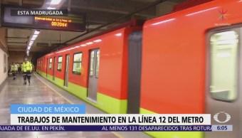 Realizan trabajos de mantenimiento en la Línea 12 del Metro CDMX