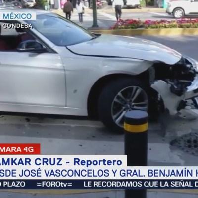 Reportan choque en avenida José Vasconcelos, colonia Condesa
