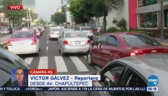 Reportan tránsito pesado en avenida Chapultepec, rumbo al poniente