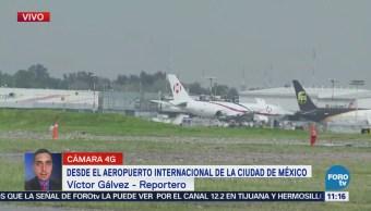 Se revientan llantas de avión de carga en AICM