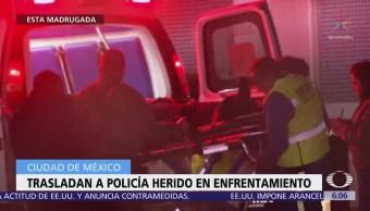 Trasladan a policía herido durante enfrentamiento en la CDMX