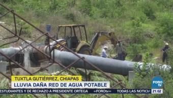 Tromba deja sin agua a habitantes de Tuxtla