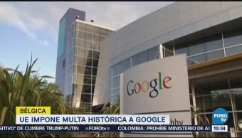 UE impone multa histórica a Google