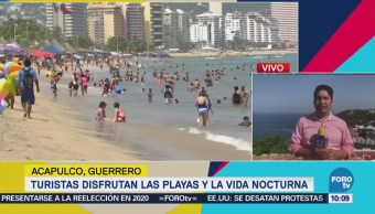 Cientos Turistas Disfrutan Sol Acapulco Turismo