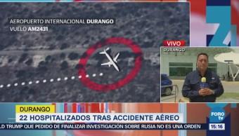 Permanecen 20 personas hospitalizadas tras accidente aéreo