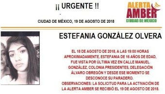 Activan Alerta Amber para localizar a Estefanía González