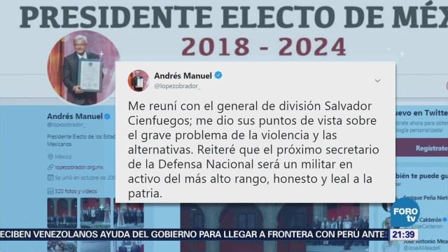 AMLO Reúne Titular Sedena Salvador Cienfuegos