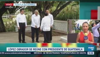 AMLO sostiene reunión con Jimmy Morales, presidente de Guatemala
