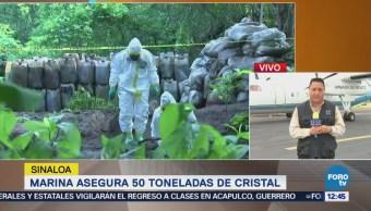 Aseguran más de 50 toneladas de crystal en Sinaloa