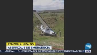 Aterriza de emergencia una avioneta en Hidalgo