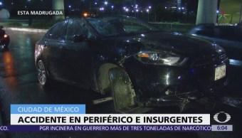 Automóvil choca contra banqueta en Periférico e Insurgentes, CDMX