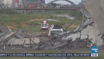 Buscan Sobrevivientes Tras Colapso Puente Italia