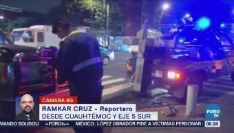 Camión de carga choca con vehículo en Eje 5 Sur, CDMX