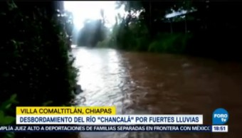Lluvia Torrencial Chiapas Desborda Río Chancalá Municipio Villa De Comaltitlán Está Afectado