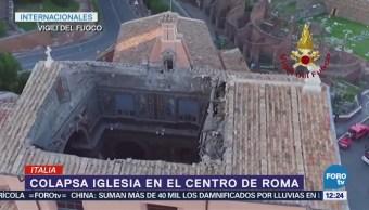Colapsa techo de iglesia en el centro de Roma