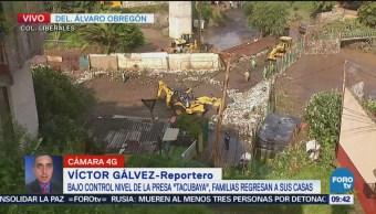 Controlan nivel de la presa Tacubaya tras intensas lluvias