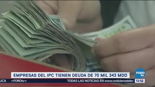 Empresas del IPC de la Bolsa tienen deuda de 70 mil 343 mdd