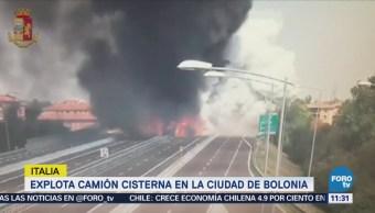 Explota camión cisterna en la ciudad de Bologna