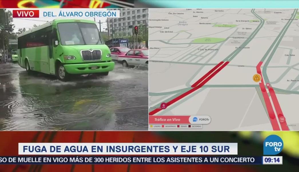 Fuga de agua afecta tránsito en avenida Insurgentes