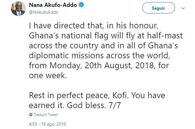 Ghana declara 1 semana de luto nacional por fallecimiento de Kofi Annan