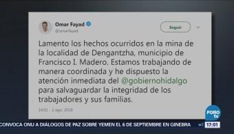 Gobernador de Hidalgo lamenta derrumbe en mina
