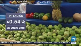 Inflación aumenta 0.54% en julio: INEGI