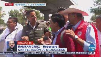 Manifestación de mezcaleros afecta tránsito en Periférico Sur, CDMX