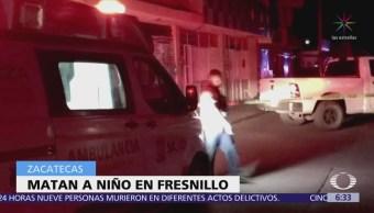Muere niño de 8 años durante balacera en Zacatecas
