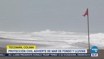 Olas de cuatro metros por mar de fondo, en Colima