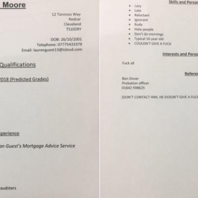 Padre redacta CV para su hija de 16 años y la describe con las peores cualidades