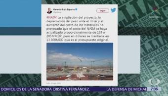 Presupuesto del NAIM se mantiene en lo previsto, dice Ruiz Esparza