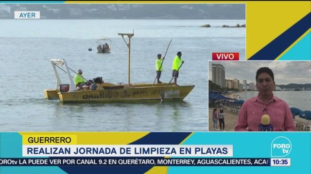 Realizan jornada de limpieza en playa de Guerrero
