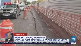 Reportan hundimiento en la calle Añil; vecinos culpan a las obras