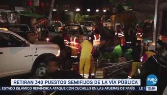 Retiran 340 puestos ambulantes en la colonia Portales, CDMX