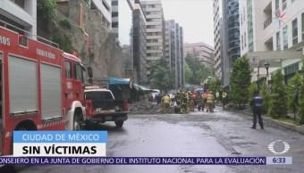 Se registra deslave en Lomas de Chapultepec, CDMX