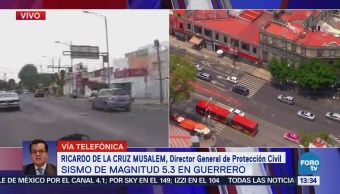 Sismo no provoca daños, dice Ricardo de la Cruz Musalem