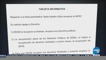 SNTE: Al recuperar Elba Esther la libertad recupera derechos políticos, pero no los sindicales
