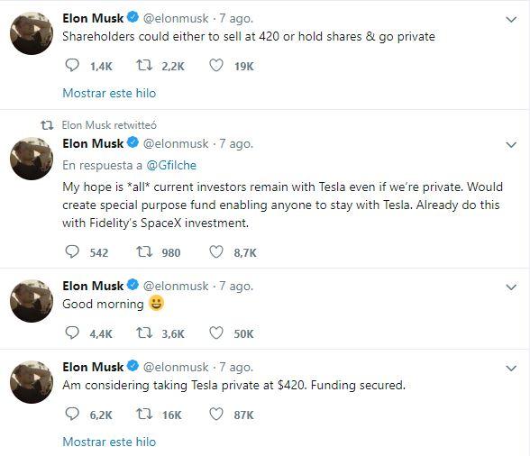 Tesla nombra comité para su salida de la Bolsa Tweet Musk