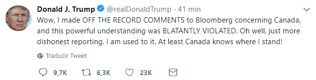 Concluyen negociaciones entre EU y Canadá sobre TLCAN Tweet Trump