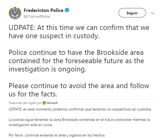 La Policía de Fredericton publicó un tuit informando sobre los hechos. (@CityFredPolice)