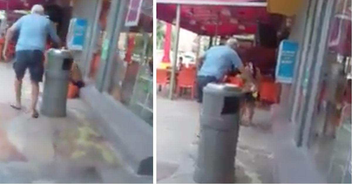 (VIDEO) Turista echa ácido a indigente en Cancún