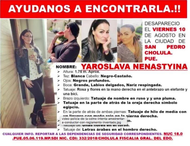 Tuit sobre la desaparición de Yaroslava Nenastyina. (@karlaiberia)