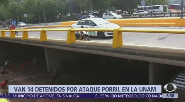 Suman 14 detenidos por ataques de porros en Rectoría UNAM