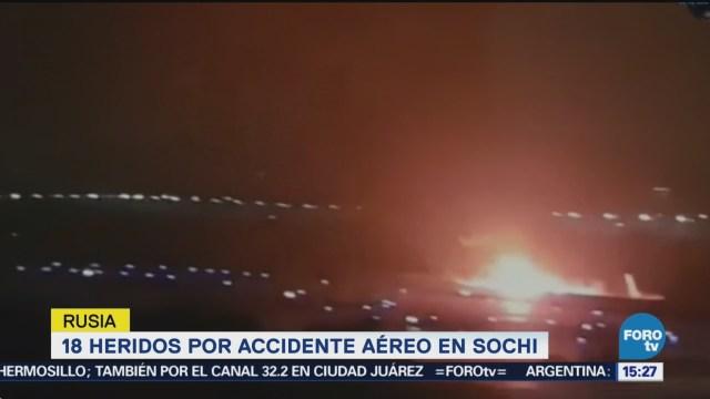 18 Heridos Accidente Aéreo Sochi, Rusia