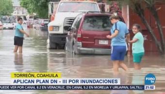 Aplican Plan DN - III en Torreón, Coahuila por inundaciones