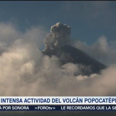 Aumenta actividad del Popocatépetl en últimas horas