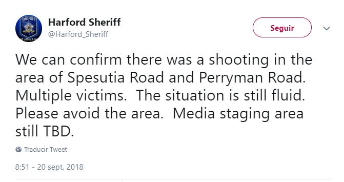 Autoridades reportaron el tiroteo a través de Twitter. (@Harford_Sheriff)